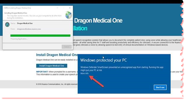 Dragon Medical One ClickOnce Install Stops on Window 10